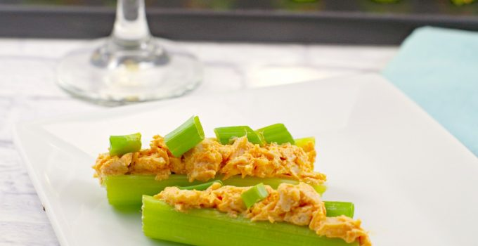 Skinny Buffalo Chicken Celery Sticks (with leftover rotisserie chicken)- A Weight Watchers Appetizer