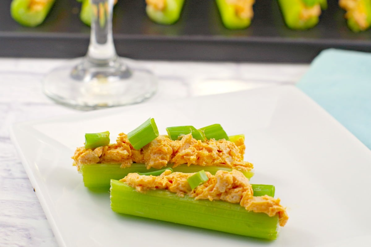 Skinny (Keto) Buffalo Chicken Celery Sticks - weight watchers appetizer