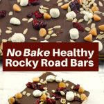collage of 2 photos of no bake healthy rocky road bars with white text on cranberry colored background in the middle