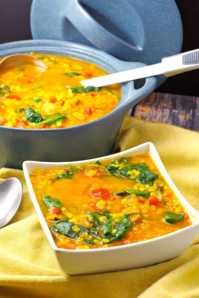 Red Lentil Spinach soup | Weight Watchers - foodmeanderings.com