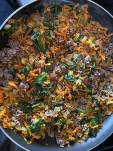 ground beef mixed with spinach