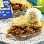 A piece of Deluxe apple pie with ice cream   award-winning apple pie