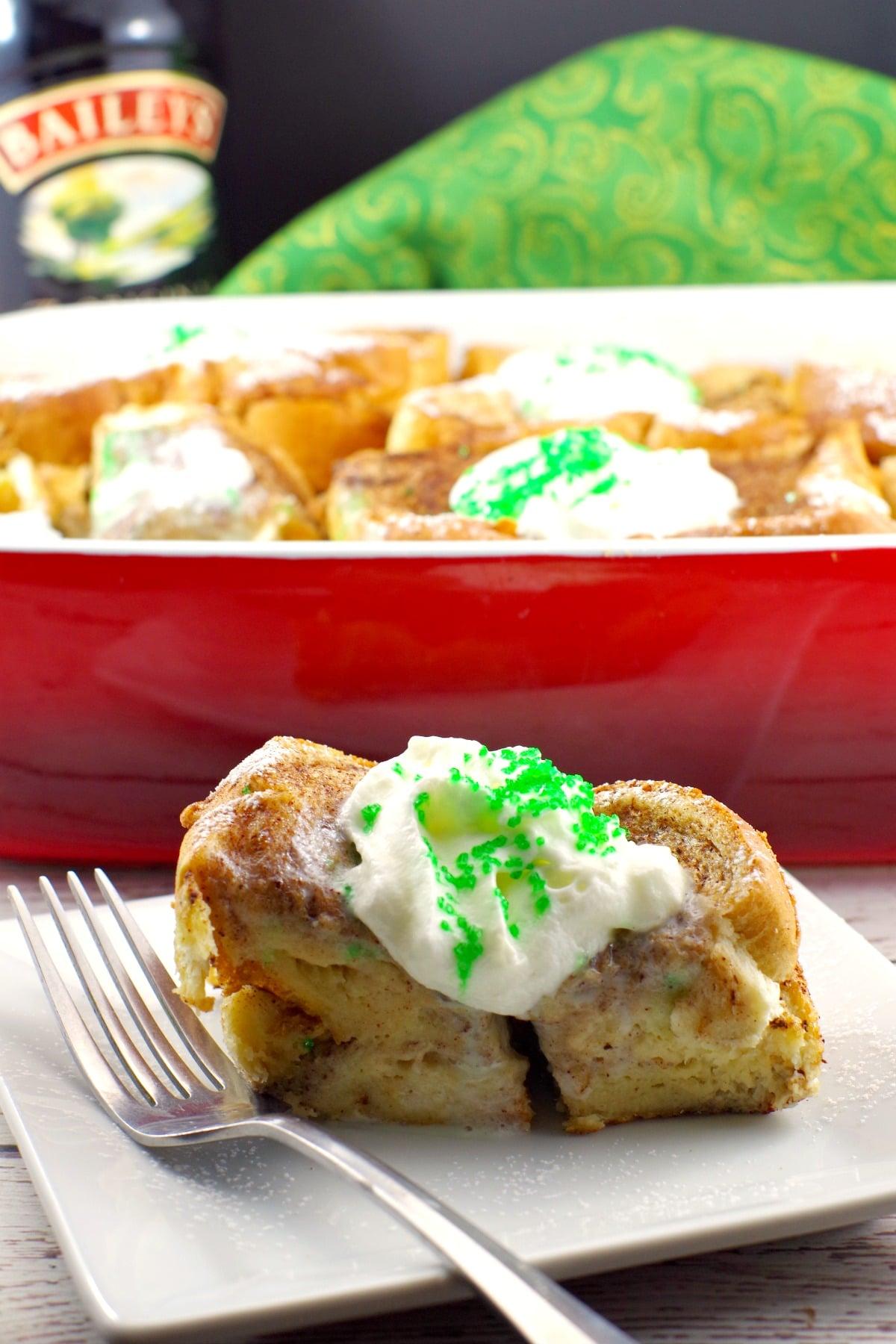 Best overnight french toast casserole - Bailey's Irish Cream St. Patrick's Day