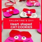 Collage of 2 photos of heart-shaped Valentine's Day cat cookies