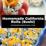 Pinterest Pin with text in the middle and 2 photos of califlornia rolls (sushi) at the bottom and top