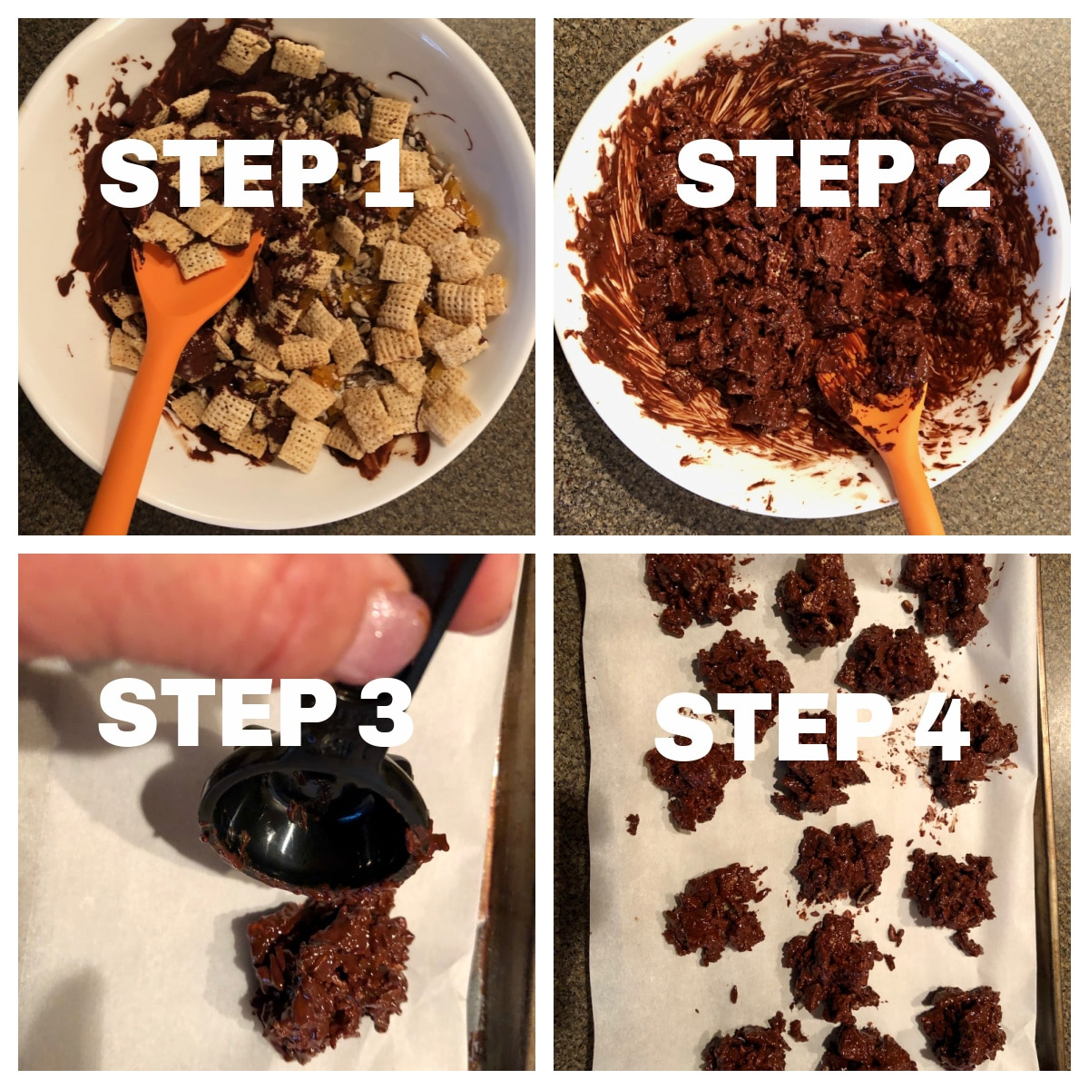 collage of 4 steps of making chocolate cereal clusters