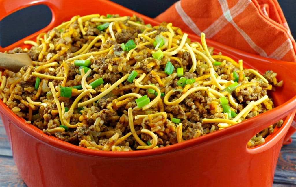 Chow Mein Minnesota Hotdish in large orange casserole dish