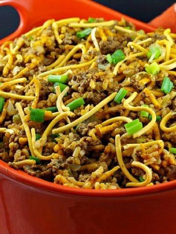 Chow Mein Minnesota Hotdish in large orange casserole dish