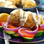 Greek Chicken breast Souvlaki with tzatziki drizzled on (with no pita and no skewer) on a bed of fresh vegetables