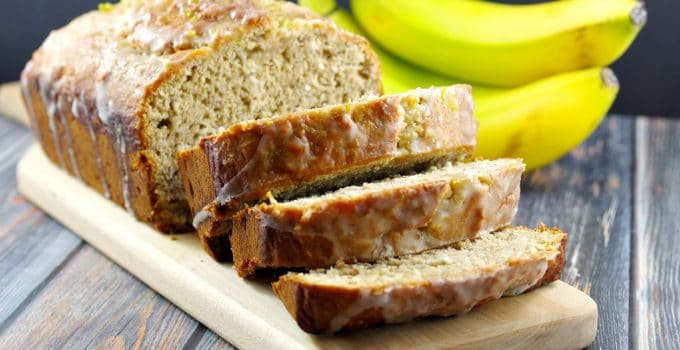 Easy Healthy Tropical Banana Bread (with Lime Glaze)