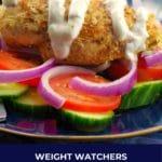 lazy greek chicken souvlaki breast on a platter of vegetables
