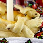 Ukrainian Bread Doves in an Easter basket with candle