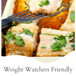 Pinterest pin with white text at the bottom and photo of Cooked frozen salmon fillets on a sheet pan with one being left off