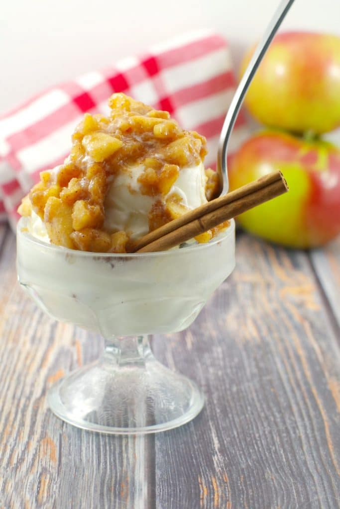 apple cinnamon topping on frozen yogurt in ice cream dish with spoon and cinnamon stick, apple and checked cloth in background