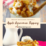 2 photo collage - apple topping on frozen yogurt on top and apple topping on waffles on bottom