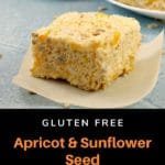 apricot and sunflower seed rice krispie treat on parchment paper