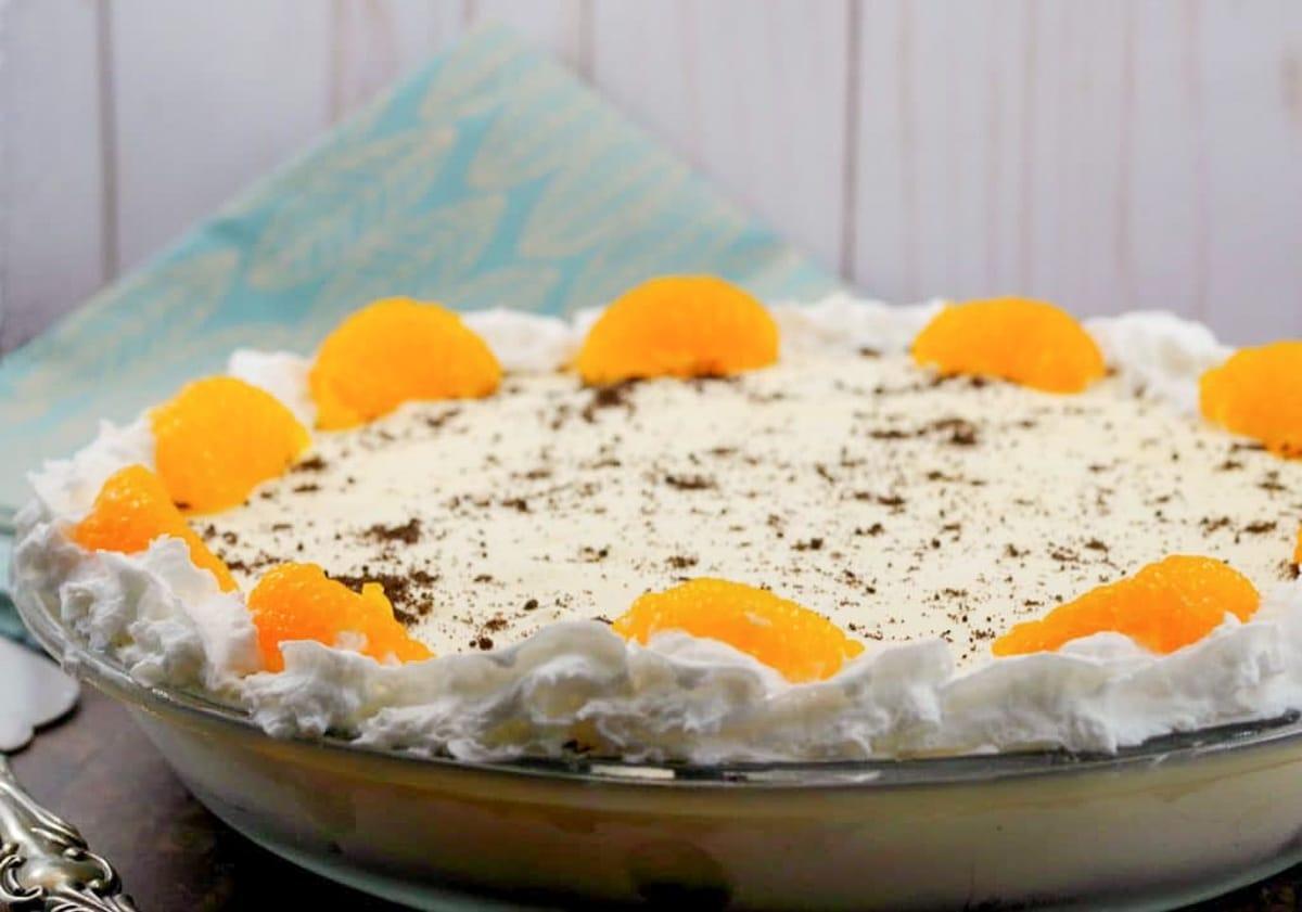 Whole dairy-free Orange Creamsicle pie