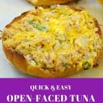 Open faced tuna melts on parchment paper covered baking sheet