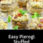 Pierogi stuffed mushrooms on aluminum foil lined baking sheet