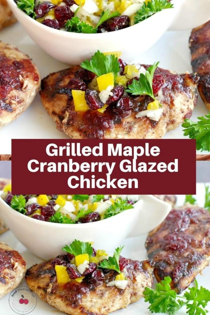 collage pin with text and 2 photos of maple cranberry chicken with cranberry salsa