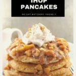 stack of IHOP Harvest Grain & Nut Pancakes topped with apple topping, whipped cream and sugar