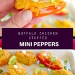Pinterest pin with text in the middle and 2 photos of buffalo chicken stuffed mini peppers