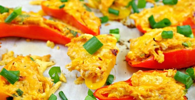 Buffalo Chicken Stuffed Mini Peppers (with leftover rotisserie chicken)