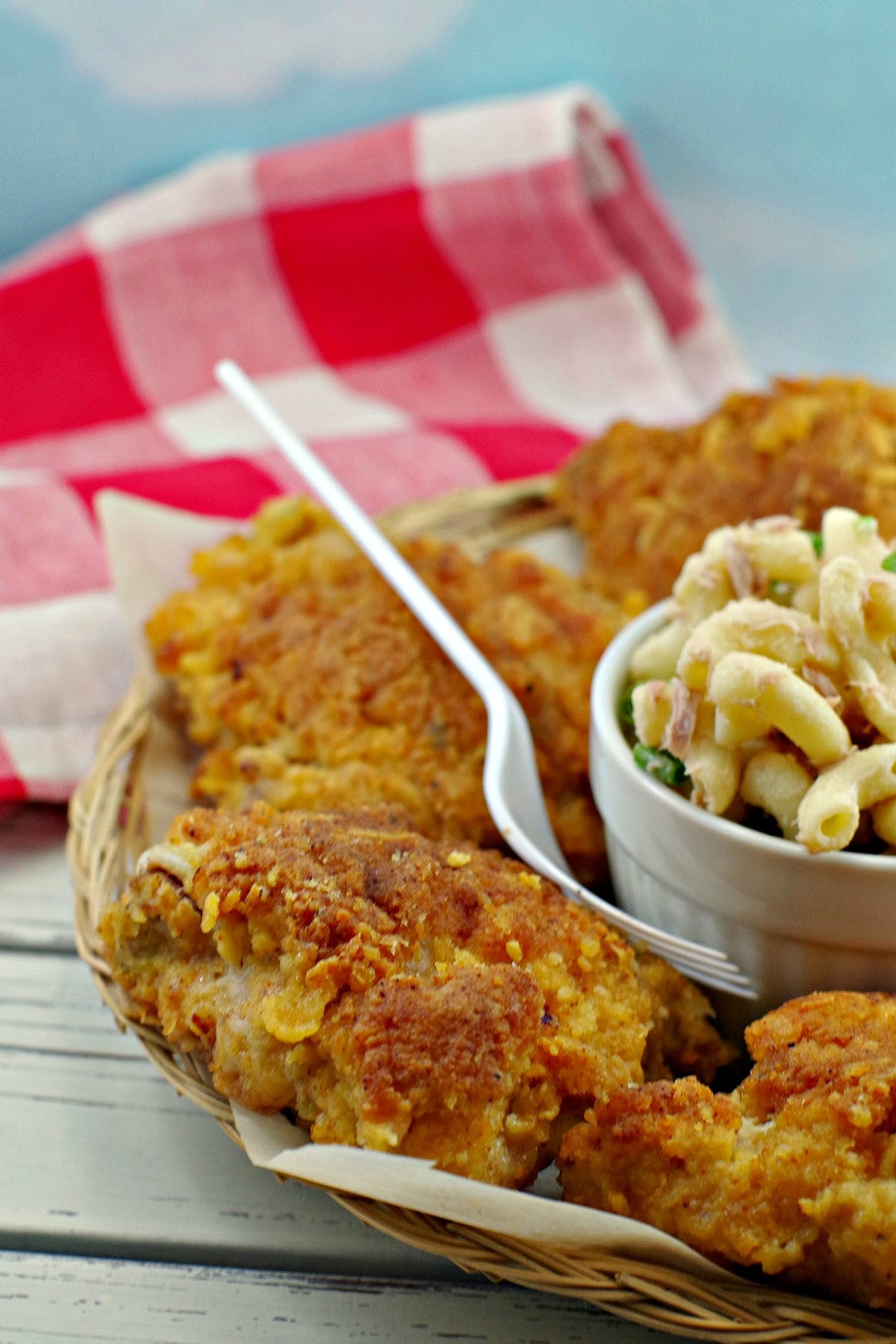 view of half plate of fried chicken with macaroni salad
