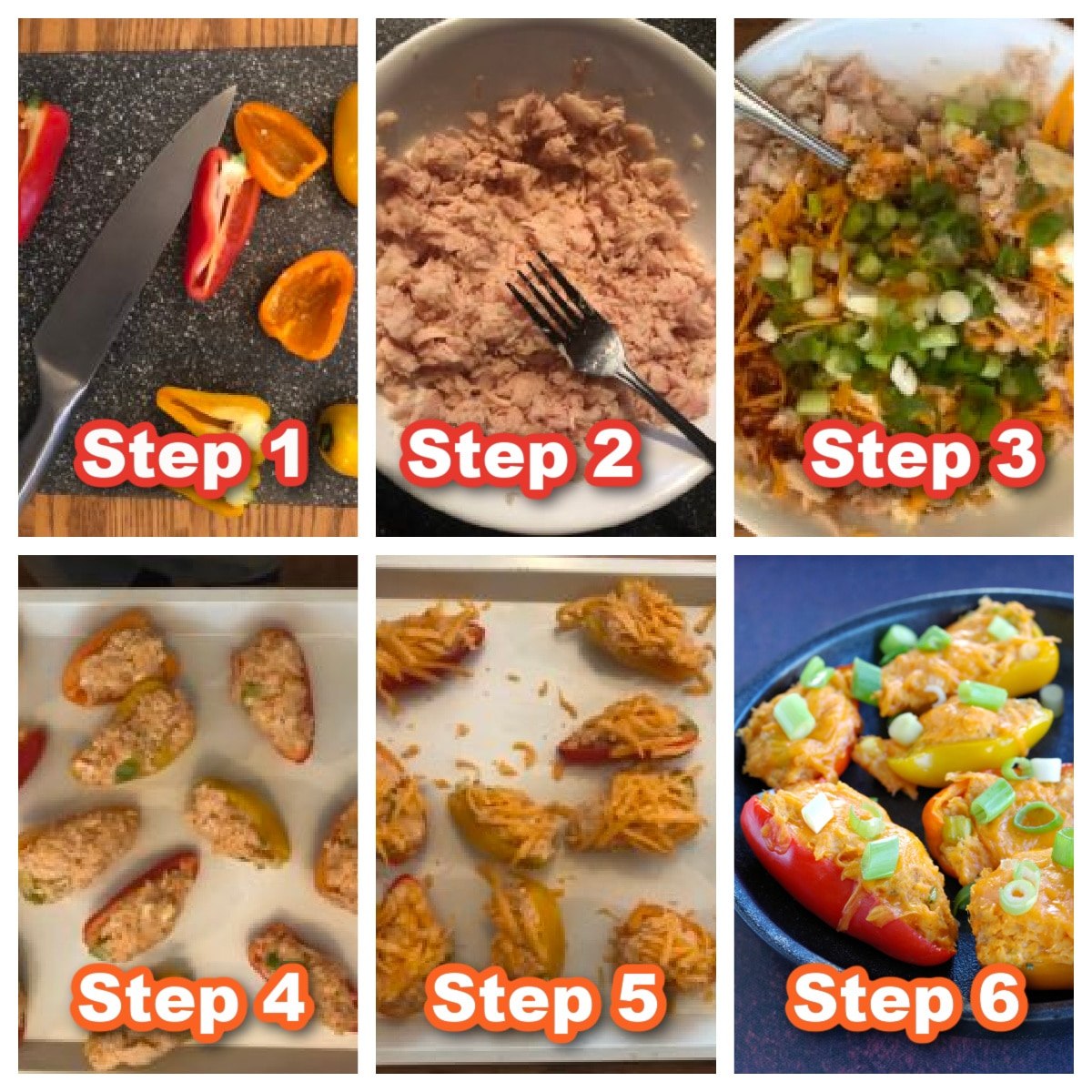 collage of 6 photos of steps to make buffalo chicken stuffed mini peppers
