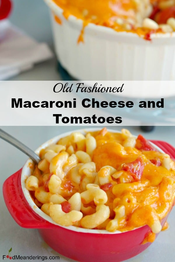 Macaroni and Cheese with tomatoes in red bowl
