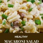 Pinterest pin with white text on brown background on the bottom and close up photo of Tuna Macaroni salad in a yellow bowl on top