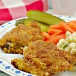 Picnic Fried Chicken on plate with macaroni saladtihe