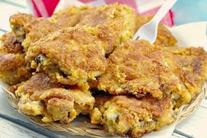 Fried chicken piled on plate