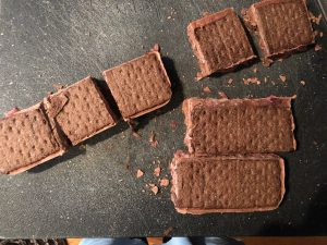 ice cream sandwiches being cut into 9 sandwiches