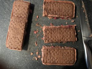 ice cream sandwiches cut in 4 sections