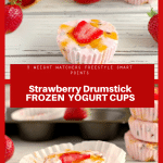 Collage of 2 strawberry drumstick frozen yogurt cup photos