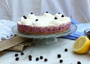 No Bake Saskatoon Berry Cheesecake on platter