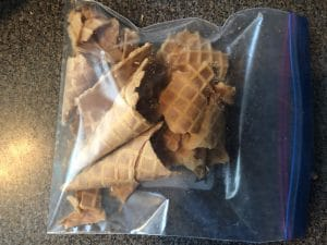 Waffle cones in ziplock bag, ready to be crushed