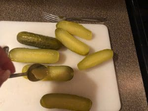 Scooping centres out of pickles