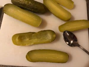 Pickles with centre scooped out