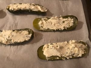 Pickles stuffed with Boursin Cheese mixture and smoothed
