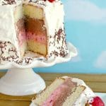 Piece of Neapolitan Ice Cream Cake with whole cake in background