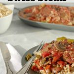 Pinterest Pin with text on the top and photo of Slow Cooker Swiss Steak on Rice (on green plate)