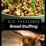 photo of stuffing in green dish with stuffed turkey on bottom