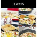 Collage of Ukrainian style eggs 3 ways - baked, scrambled and fried