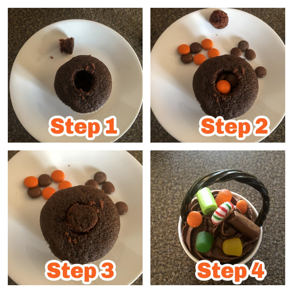 collage of 4 photos of instructions to make Halloween candy cupcakes
