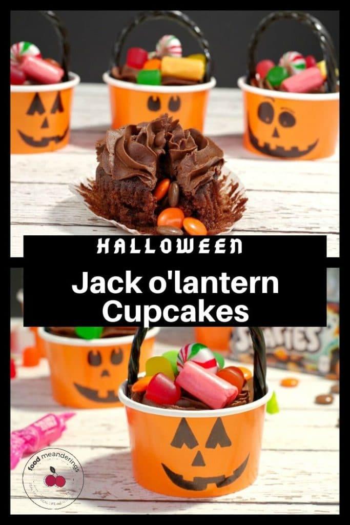 Collage of 2 photos of halloween jack o'lantern cupcakes