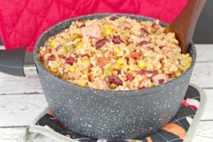 Leftover Ham, Rice and Beans in black and white speckled pot