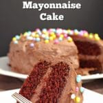 Chocolate Mayonnaise Cake with slice in front and cake in the back