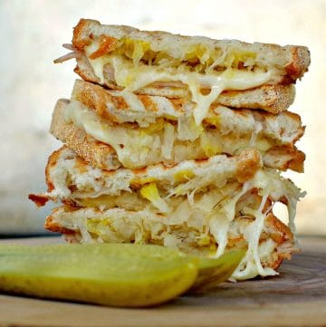 Turkey Reuben Panini with pickle